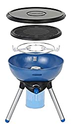 Multifunctional: This compact camping grill offers campers the choice between a pan support or an enamelled grilling grid and a lid protects the cooking surface High Performance: The fully adjustable 2000 W BBQ is powered by the Campingaz CV 470 Plus...
