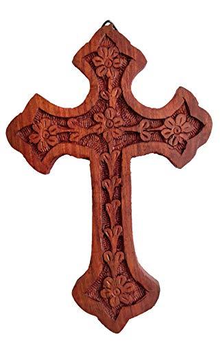 IconsGr Crocifisso da Parete in Legno Sacro Ortodosso Religioso Intagliato a Mano, Croce Cristo Athos 85