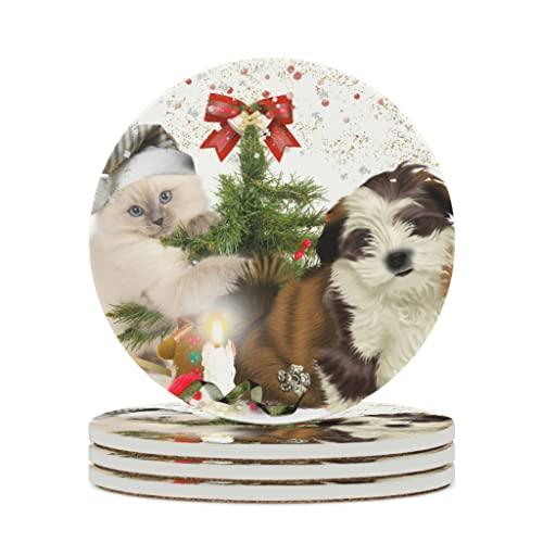 Facbalaign Posavasos de cerámica con diseño de gato y perro, con base de corcho resistente a los arañazos, protección del medio ambiente, no tóxico, para bebidas, color blanco, 4 unidades
