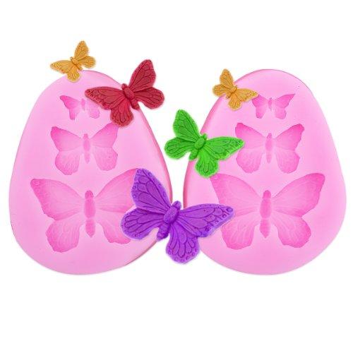 2x Encaje molde del silicona en forma pasta de azúcar herramienta Hornear adorna la flor rosa Mariposa