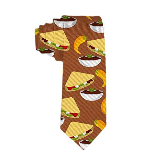 Corbata delgada clásica para hombre con salsa picante de chile y tacos, corbata delgada tejida flaca, corbata ecológica para niños de moda