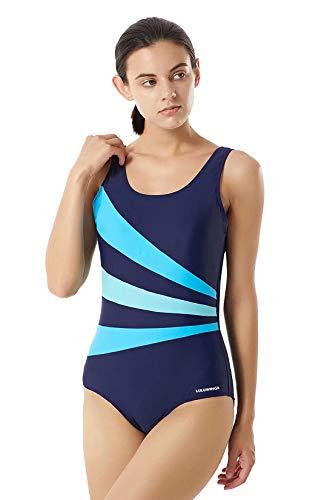 LULUWINGX Damen Einteiler Badeanzug mit DREI vorderen Splice Badeanzug tiefer U-Rücken Bademode Marineblau(Large Navy)