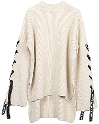JIAKENVDE Winter Hood Round Neck Irregular Ribbon Sleeve Short Short Long Loose Sen Female Sweater