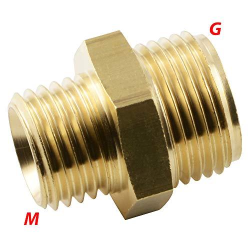 Fittingteile - Doppelnippel mit Metrisch-Zöllig Gewinde Messing Druckluft Wasser Adapter (Gewinde: G 3/8