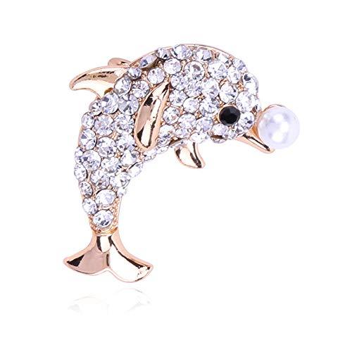 Broches bonitos de delfín con diamantes de imitación para mujer, con incrustaciones de perlas, abrigo de invierno, broche para sombrero, alfileres, joyería de moda, regalos para niñas