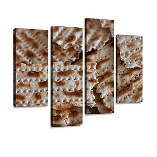 IGOONE 4 Panels Canvas Paintings - Square Pieces of Matzo flatbread Crackers Passover - Wall Art Modern Posters Framed Ready to Hang for Home Wall Decor