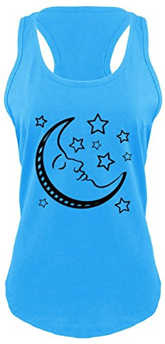 Ladies Racerback Tank Celestial Moon and Stars Turquoise M