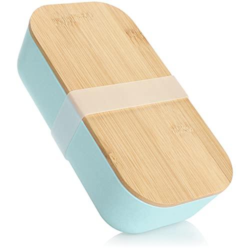 com-four® Fiambrera para Llevar - Fiambrera con Tapa de bambú y Cierre de Goma - Caja de Almacenamiento con un diseño Moderno