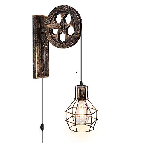 Industrial Wall Sconces E26 Base with Plug in Wall Lamp Dimmer Switch Vintage Style Wall Light Fixture for Farmhouse Bedroom Nightstand Headboard Porch Garage Bedroom