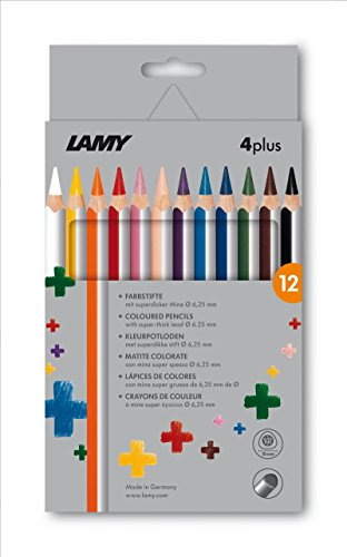 LAMY 4plus Farbstifte 525 12er-Set: Faltschachtel mit 12 Farbstiften aus hochwertigem Zedernholz mit ergonomischer Dreieckform und hoher Farbbrillanz – Superdicke Mine Ø 6,25 mm