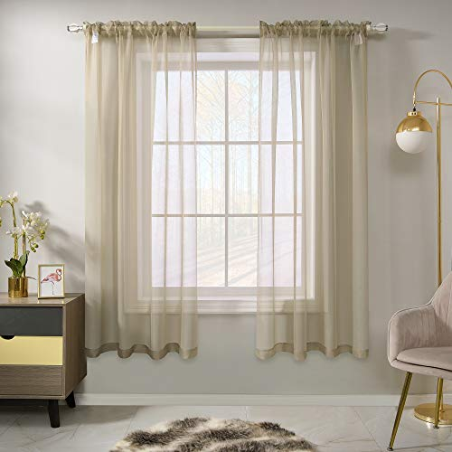 Light Taupe Voile Sheer Curtains for Bedroom 63 Inches Long 2 Panels Rod Pocket Light Filtering Treatment Window Drapes Solid Light Brown Sheer Curtains for Dining Room 52 X 63 Inch Length
