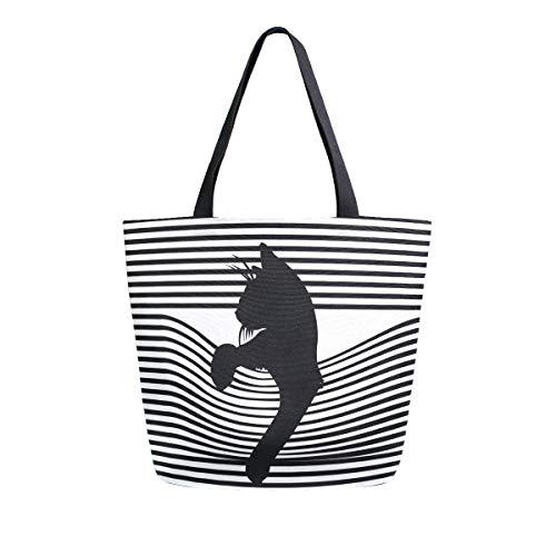 Isaoa Sac à bandoulière réutilisable en toile pour femme et fille - Motif à rayures et chat noir