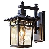 YBright Lámpara de la luz de la pared al aire libre cuadrada Vintage impermeable EXTROPORTE EXTERNO LIGHT LIGHT RETE RETRO MUESTRO DE ALUMINIO DE ALUMINIO Linterna con vidrio claro E27 Base Wall Scone