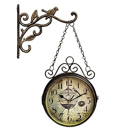 WQF Reloj de Pared silencioso de Dos Caras Vintage para Sala de Estar, Reloj de Pared de pájaro de Cuarzo con decoración de casa de Campo silenciosa de Metal de Hierro, Reloj de Arte Decorativo