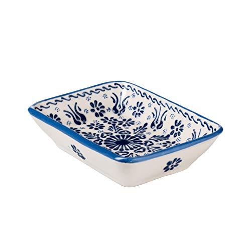 ottoman Seifenschale Keramik handbemalt (Ägäis Blau)