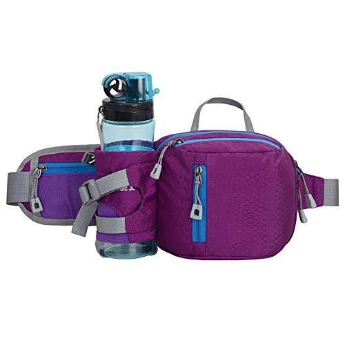 AOUVIK Running Bag, Waist Belt Pack Outdoor Marathon Gym Sport Fitness Water Bottle Pouch Waist Pack Riding Cycling Phone Pocket,Purple