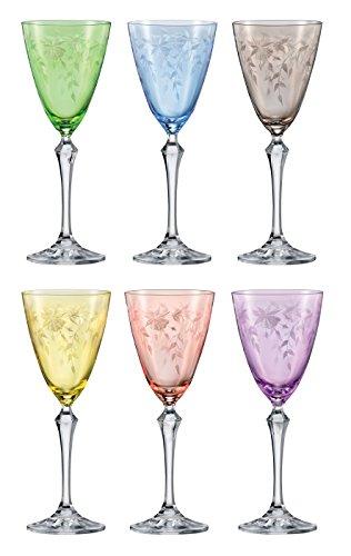 Cristal de Bohemia vasos–Floral–Juego de 6–Original Bohemia, Weinglas 6 x 250 ml