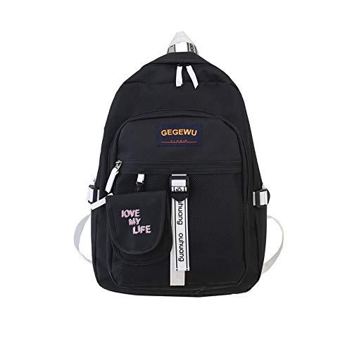 HVTKL 2020 nieuwe vaste kleur casual manier Oxford doek omhangtas rugzak schooltassenmann- paar modellen HVTKL, zwart (zwart) - HVTKL