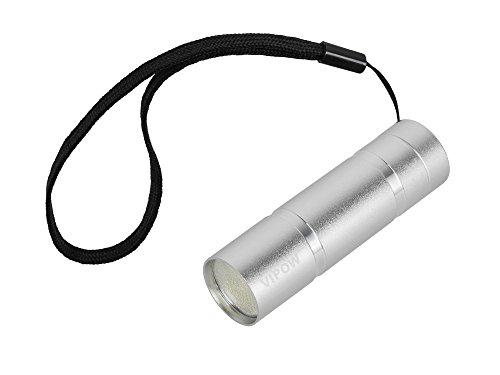VIPOW urz0904 LED Lampe torche en aluminium 1 W COB, argent, 2.6 x 2.6 x 8.6 cm