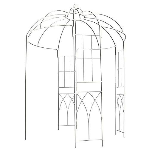 Pergola de metal con forma de jaula de pájaros de 4 lados estilo francés, de Outour, para jardín, patio, boda, vid trepadora, rosas, flores, color blanco