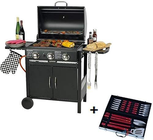 MaxxGarden BBQ Barbecue à gaz en Acier Inoxydable avec 3 brûleurs...