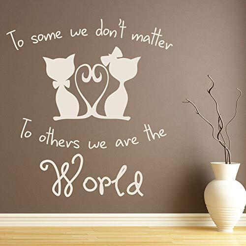 Pareja gato etiqueta de la pared We Are The World vinilo ventana calcomanía dormitorio tienda de mascotas casa decoración Animal Mural arte