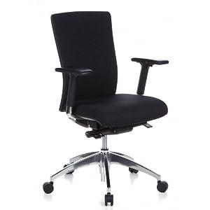 hjh OFFICE 657414 silla ejecutiva ASTRA BASE tela gris silla escritorio ergonomica con reposabrazos soporte lumbar