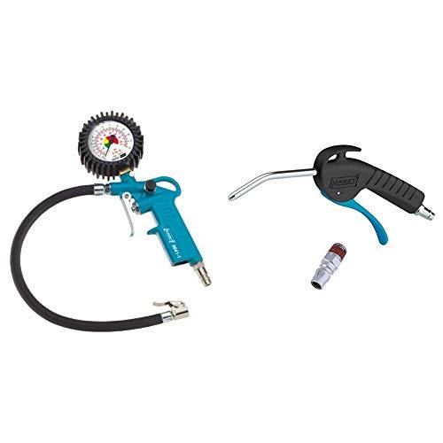 HAZET Reifenfüll-Messgerät (Manometer-Messbereich 0-12 bar, Schlauchlänge 400 mm, Manometer-Durchmesser: 63 mm) 9041-1 + Ausblaspistole (mit 100 mm langer, Betriebsdruck: 6 bar) 9040P-1