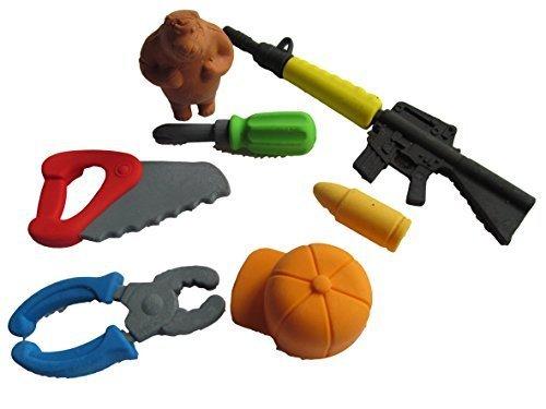 Set da 7 pezzi di caccia, gun, attrezzi, Together sega, a forma di vite, stile Gomme giapponesi Iwako gomme (non-Fat-Catz-Copy-Catz