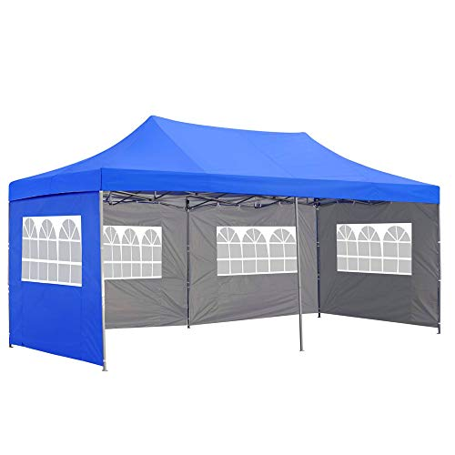 Saemoza Outdoor Pop Up Canopy Tent, 10 x 20 Instant Folding Gazebo Tent with 4 Removable Sidewalls, Height Adjustable Portable Beach Canopy with Carry Bag (Blue)