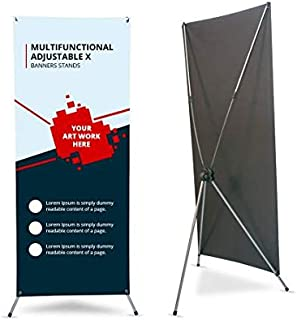 Multifunctional Adjustable X Banner Stand, Tripod X Frame Banner Display Stand for Tradeshow Event Display, Business Advertising Poster Sign Holder (Print with Hardware, 4' X 5.5')
