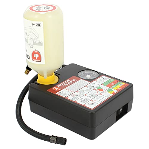 SUMEX RP10002 Reparación de Pinchazos para Coche Arregla o Repara Kit Emergencia Neumáticos Compresor de Aire con Conector 12V y 300ml Líquido Sellante, Transparente, 120 w / 300 ml