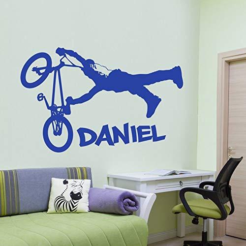 YuanMinglu Kinderzimmer Kunst personalisierte Aufkleber Jungen Hüpfburg Wand blau 88x57cm