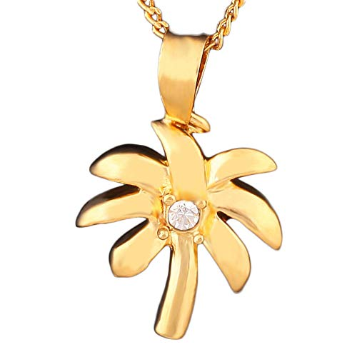 YDMSGSB Collar De Mujer Colgante De Planta De Árbol De Coco Ornamento con Incrustaciones De Diamante De Cobre Regalo De La Fiesta De Las Damas