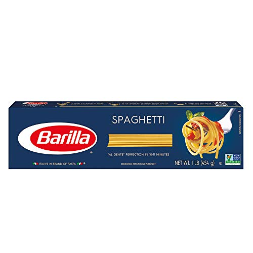 BARILLA Blue Box Spaghetti Pasta, 16 oz. Boxes (Pack of 8), 8 Servings per Box - Non-GMO Pasta Made with Durum Wheat Semolina - Italy's #1 Pasta Brand - Kosher Certified Pasta