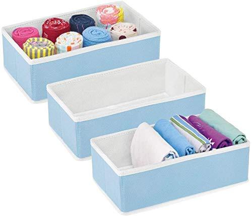 Onlyup Juego de 3 cajas organizadoras para ropa interior, cajones plegables, organizador para armario, calcetines, corbatas, tela no tejida, con separadores, 10,2 x 17,8 x 30,5 cm (azul)