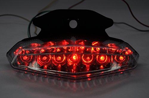 Topzone lightings ahumado lente motocicleta LED Faros traseros para luz trasera de freno con integrado Turn Signal Lamp Indicadores para Ducati Hypermotard 2009–2012