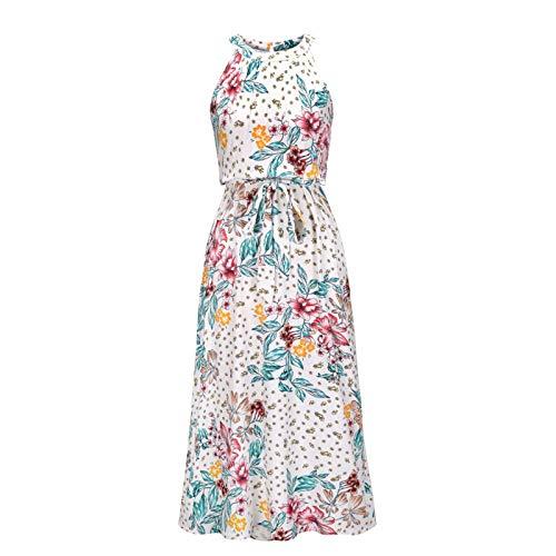 Poryu - Vestido para mujer, diseño de tubo de impresión de verano para mujer, sin mangas, vestido de primavera, sexy, atractivo en verano, estampado a Line y verde falda de tobillo (S-XL)