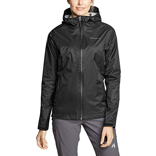 Eddie Bauer Women's Cloud Cap Rain Jacket, Black Regular L