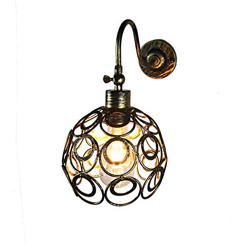 BrightBulb Lámpara Pared Metal Industrial Iluminación Pared Metal Vintage E27 Apliques Retro Lámpara Pared Accesorio Interior Para Cocina Restaurante Bar-Óxido Dorado