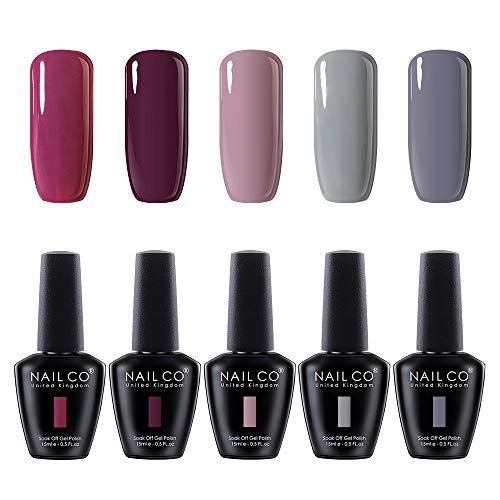NAILCO Gel Nail Polish Set 5 Colours Gel Polish Soak Off UV LED Manicure Set Requires Drying Under Nail Lamp,15ML Each Bottle-Red Nude Pink Gray Color