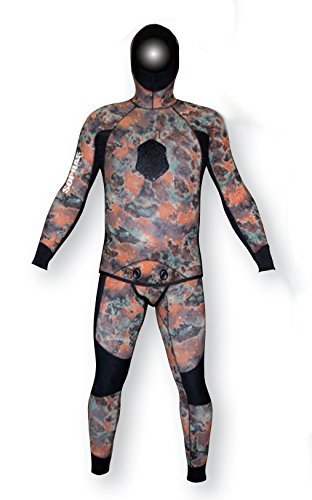 Sopras Sub Apnea Mimetic Camo 5mm Open Cell Wetsuit 2 piece Farmer John with Hood Camofluage Wet Suit for Freediving Apnea Scuba Diving Spearfishing Size Medium-Large ML