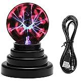 Mangsen - Bola de plasma de mariposa, 3 pulgadas, sensible al tacto, USB, con energía eléctrica, para fiestas, dormitorios, decoraciones