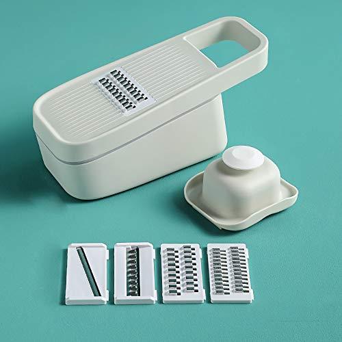 Eco Memos Mandoline Slicer Trancheuse Professionnelle avec Récipient - Trancheuse Multifonction pour Trancheuse de Pommes de Terre, Coupe-Frites, Trancheuse à Oignon, Trancheuse à Légumes (Blanc)