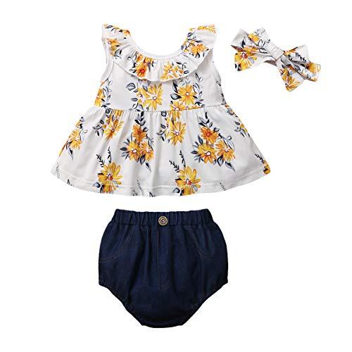 Gajaous Säuglings Baby Mädchen Blumen Rüschen Ärmelloses Top Kleid Denim Kurze Hose + Stirnband Sommer Kleidung Set 0-3J
