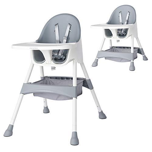 KESAIH Mitwachsender Hochstuhl, Safety Höhenverstellbar Kinderhochstuhl, Babyhochstuhl mit Extragroßer Tablett, Weiche Rückenlehne, Verstellbar Sicherheitsgurte, Einfach zu säubern, für ab 0 bis 6st
