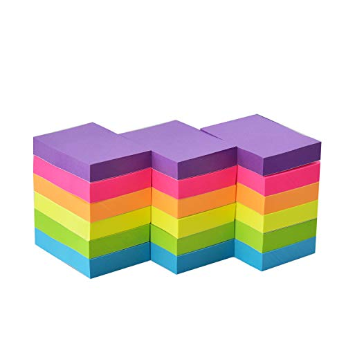 Sticky Notes 1.5 x 2 Self-Stick Notes 6 Bright Color 18 Pads, 100 Sheets/Pad (6 Bright)