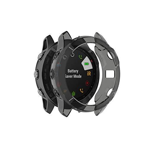 RuenTech Case Cover Compatible with Garmin Fenix 6X/6X Pro/Fenix 6X Sapphire Case Protector TPU Protective Case Frame for Fenix 6X GPS Watch (Black Tint)