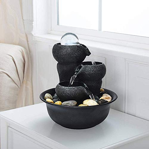 770 3-Stufige Zimmerbrunnen mit LED-Beleuchtung und Ball, 20,5 cm Zen Meditation Wasserfall aus Polyresin für Büro und Wohnzimmer Dekoration