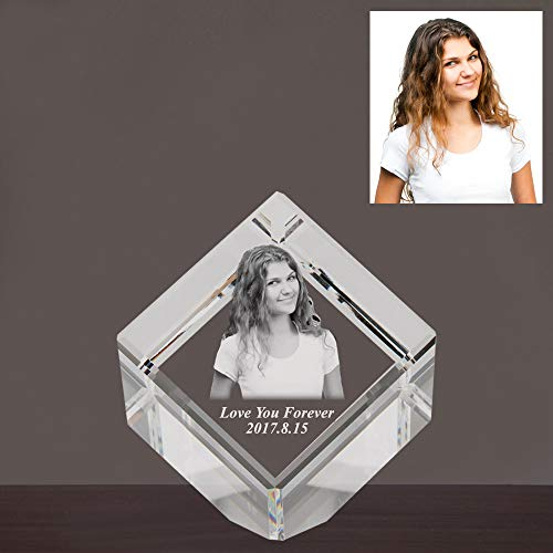 Qianruna Personalized Custom 3D Crystal Glass Photo Laser Engrave Etched Gift Wedding and Birthday Gifts, Crystal Cube with Conner Cut (Small)